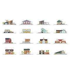 set of different styles residential houses vector image vector image