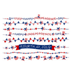 set of usa flag border or garland design vector image vector image