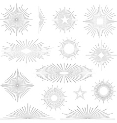 Set of vintage retro sunbursts vector image vector image