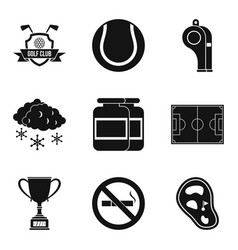 Sport clubhouse icons set simple style vector