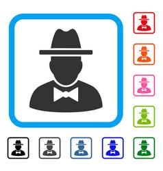 Spy framed icon vector