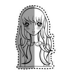 sticker anime nice surprised woman vector image vector image