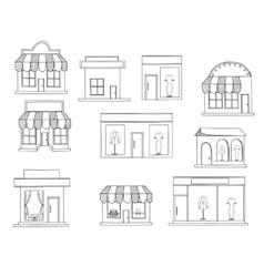 Store buildings coloring book vector