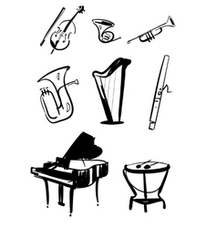 Symphony orchestra instruments hand drawn vector