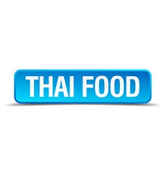 Thai food blue 3d realistic square isolated button vector image vector image