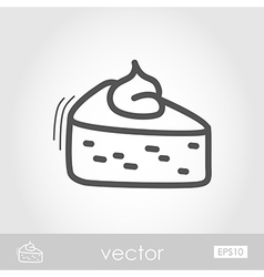 Piece of pumpkin pie outline icon thanksgiving vector