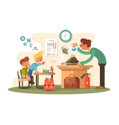 Chemistry lesson in classroom vector