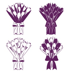 Tulip bouquet silhouette vector