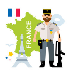 France police flat style colorful cartoon vector