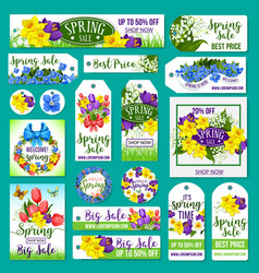 Spring sale tags posters banner templates vector