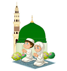Two muslim kids praying at mosque vector