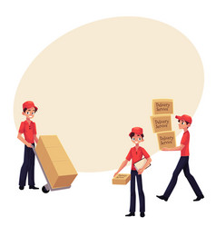 Young man working as courier delivering goods vector