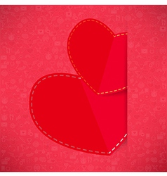 Red paper heart Valentines day card with sign on I vector image