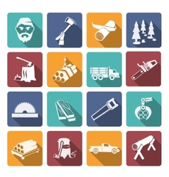 Lumberjack woodcutter icons vector