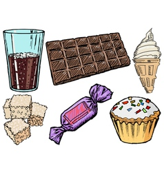 Sweet foods and drinks vector