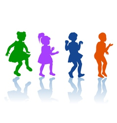Silhouettes of little boy and girls vector