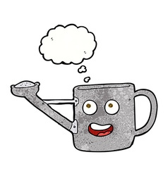 Watering can cartoon with thought bubble vector