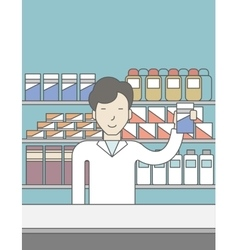 Happy asian pharmacist vector