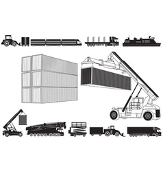 Set of loading trucks and other transport icons vector