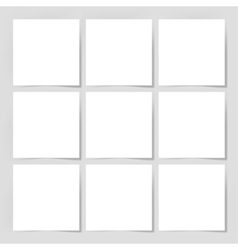 9 pieces blank sheet of white paper with the vector
