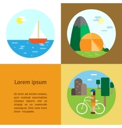 Eco-tourism camping cycling sailing vector