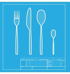 Fork spoon and knife sign white section of icon vector