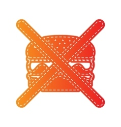 No burger sign orange applique isolated vector