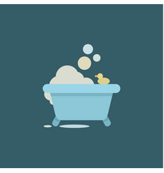 bath duck with soap bubbles and relaxing vector image
