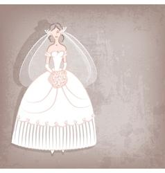 Bride on vintage background vector image vector image