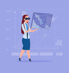 Business woman wear virtual reality digital vector