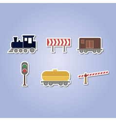 color icon set with railroad vector image vector image