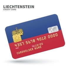 Credit card with Liechtenstein flag background for vector image