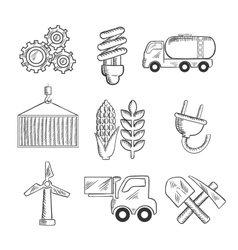 Energy and industry sketched icons vector image