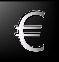 Euro sign gray 3d printed icon on black vector
