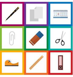 Flat icon tool set of nib pen straightedge vector