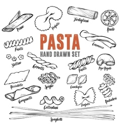 Hand drawn Italian pasta set Collection of vector image