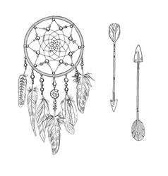 hand drawn ornate white dreamcatchers vector image vector image