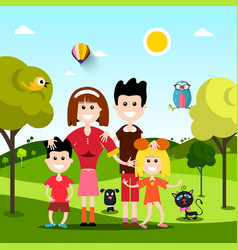 Happy family on field with pets animals flat vector
