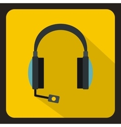 Headphones with microphone icon flat style vector image vector image