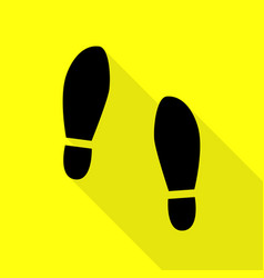 imprint soles shoes sign black icon with flat vector image vector image