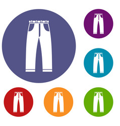 jeans icons set vector image vector image