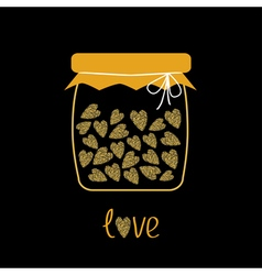 Love bottle jar with hearts inside Gold sparkles vector image