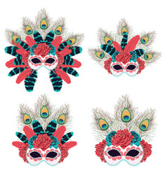 mask with roses and feathers vector image