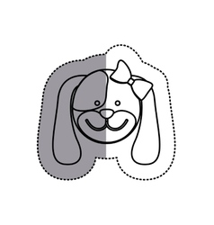 Monochrome contour sticker with female dog head vector