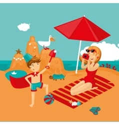 Mother and son on a beach Family vacation vector image vector image