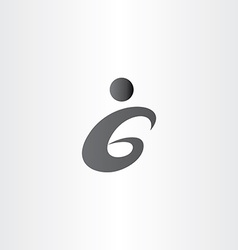 number 6 six black icon letter g vector image
