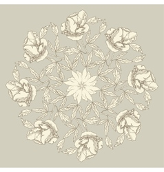 Ornamental round with peonies vector image