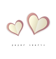 Paper hearts for Valentines day card on white vector image vector image