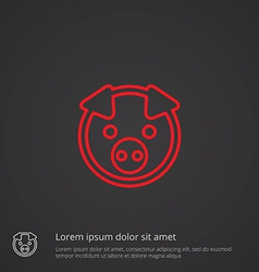Pig outline symbol red on dark background logo vector