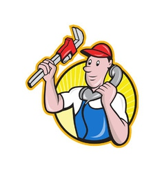 Plumber worker with adjustable wrench phone vector